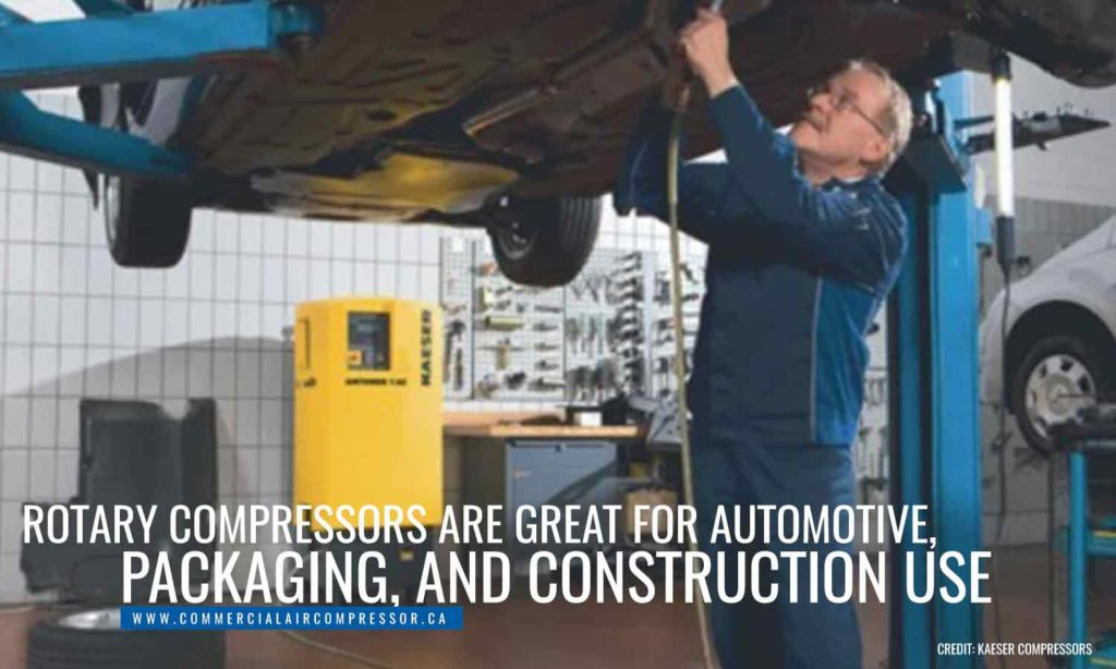 Rotary compressors are great for automotive, packaging, and construction use