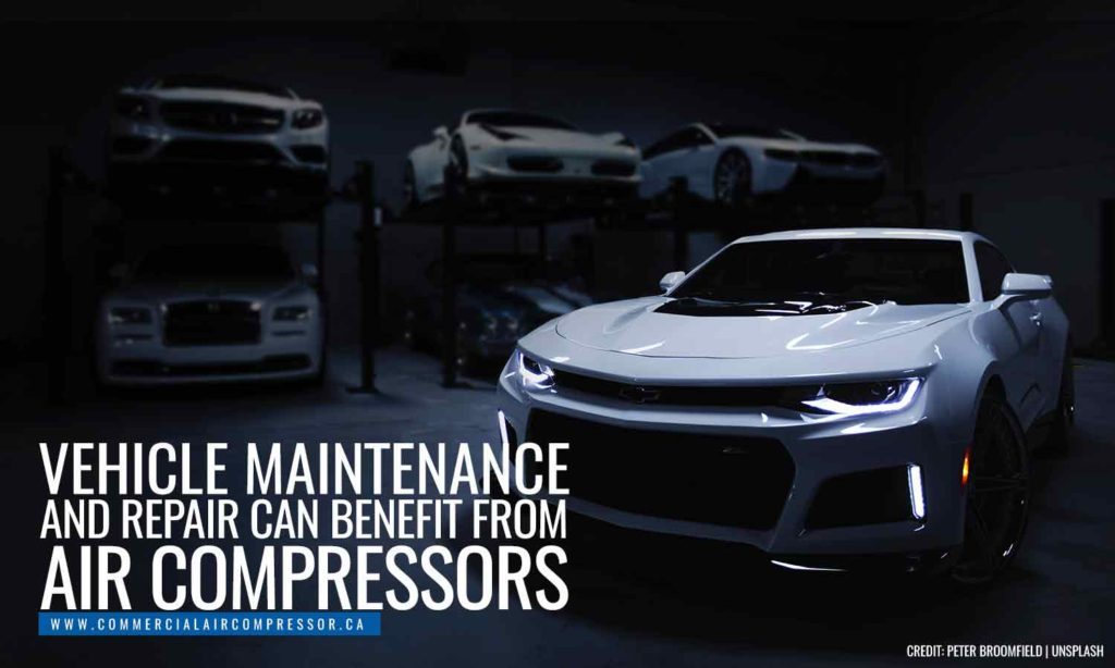 Vehicle maintenance and repair can benefit from air compressors