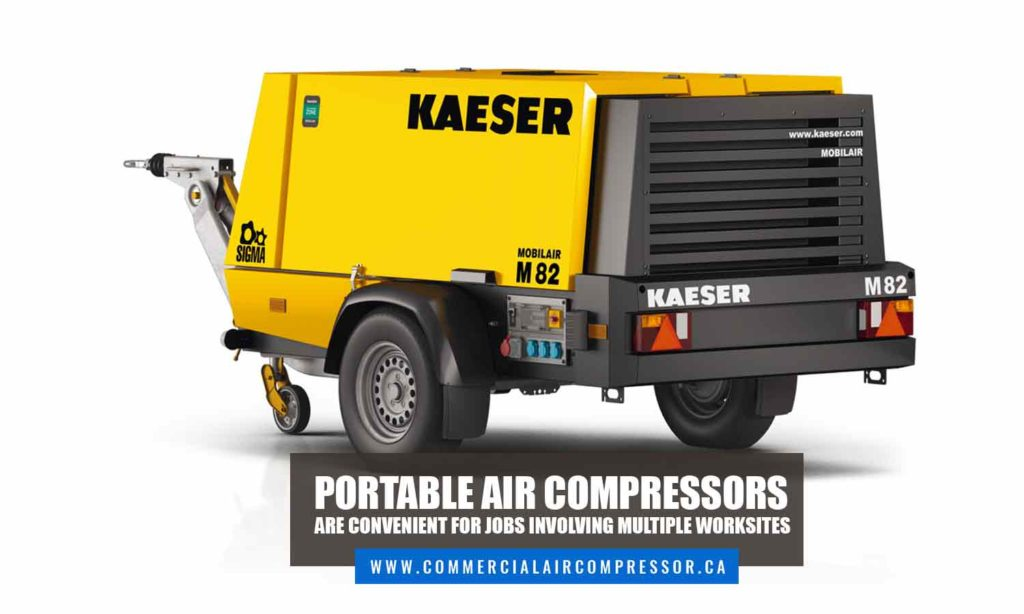 Portable air compressors are convenient for jobs involving multiple worksites