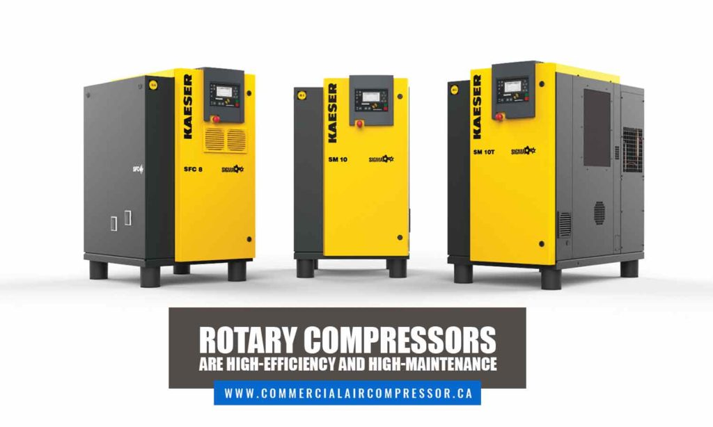 Rotary compressors are high-efficiency and high-maintenance