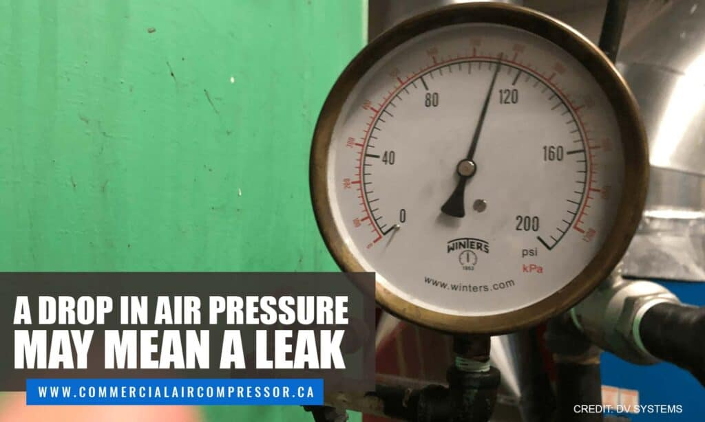 A drop in air pressure may mean a leak