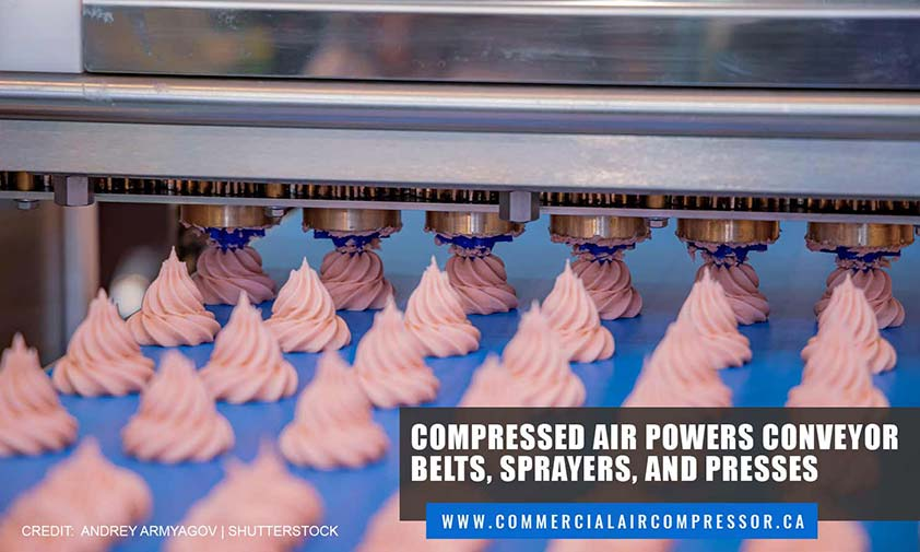 Compressed air powers conveyor belts, sprayers, and presses